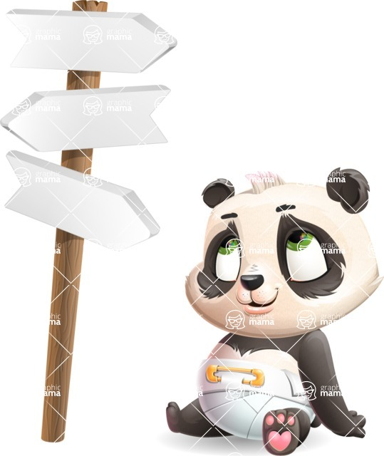 Baby Panda Vector Cartoon Character - on a Crossroad with sign pointing in all directions