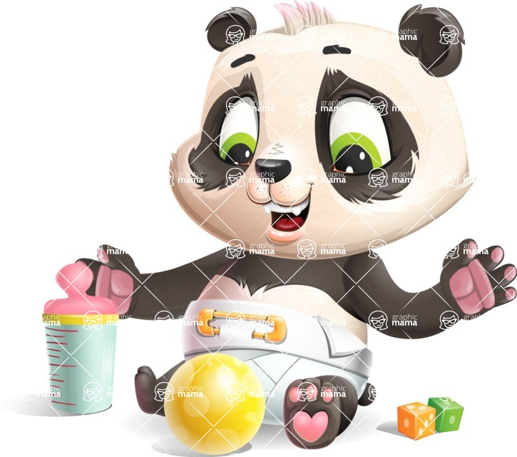 Baby Panda Vector Cartoon Character - Playtime