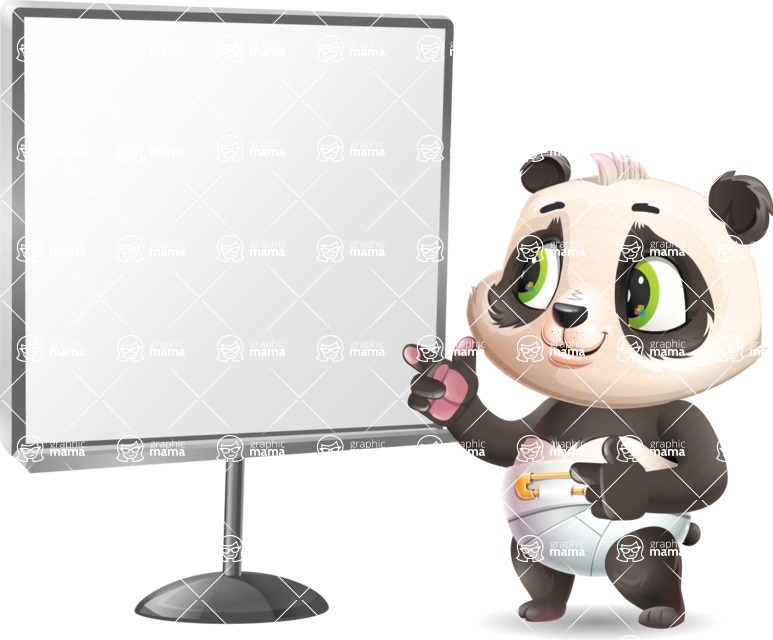Baby Panda Vector Cartoon Character - Pointing on a Blank whiteboard