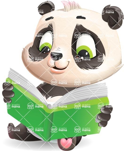 Baby Panda Vector Cartoon Character - Reading a book