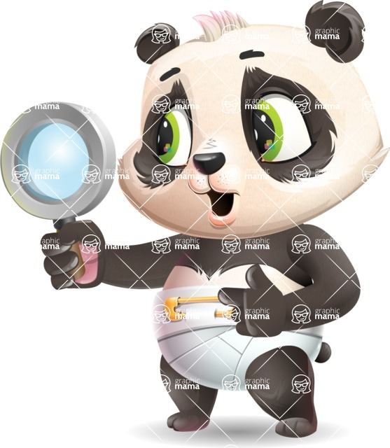Baby Panda Vector Cartoon Character - Searching with magnifying glass