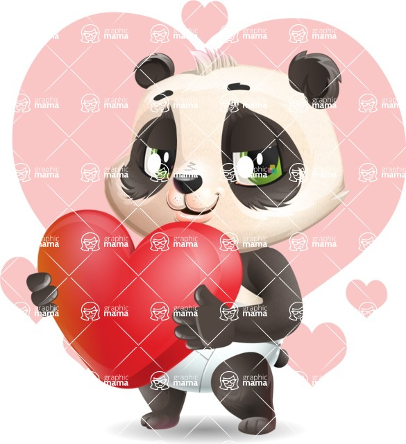 Baby Panda Vector Cartoon Character - Shape 7