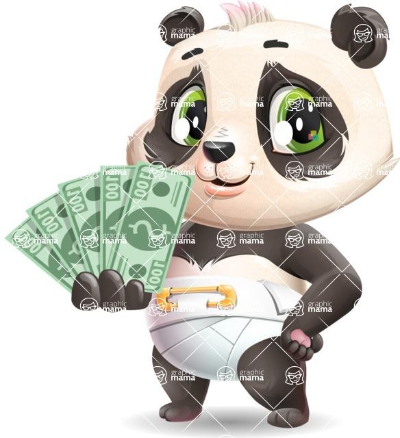 Baby Panda Vector Cartoon Character - Show me the Money