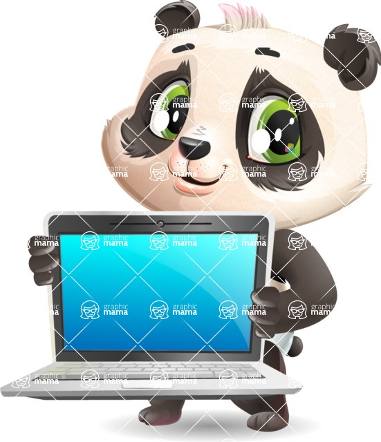 Baby Panda Vector Cartoon Character - Showing a laptop