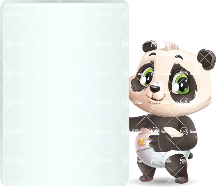 Baby Panda Vector Cartoon Character - Showing Big Blank banner