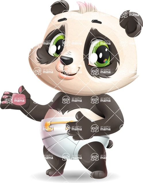 Baby Panda Vector Cartoon Character - Showing with both hands