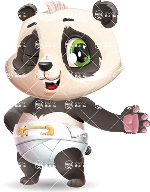 Baby Panda Vector Cartoon Character - Showing with left hand