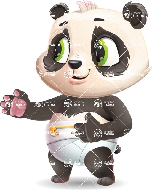 Baby Panda Vector Cartoon Character - Showing with right hand