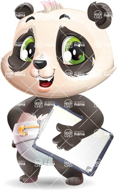 Baby Panda Vector Cartoon Character - Smiling and holding notepad