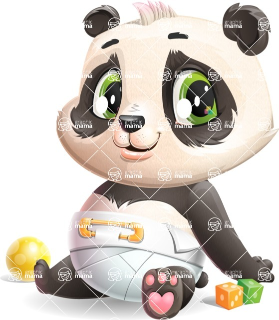 Baby Panda Vector Cartoon Character - Smiling
