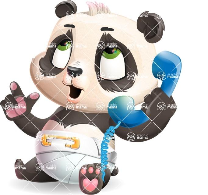 Baby Panda Vector Cartoon Character - Talking on phone