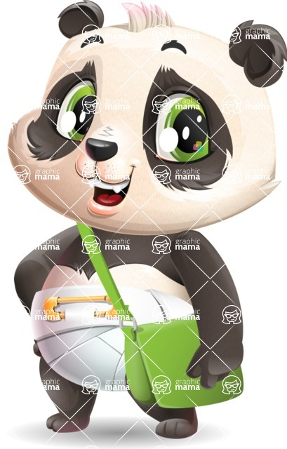 Baby Panda Vector Cartoon Character - Traveling