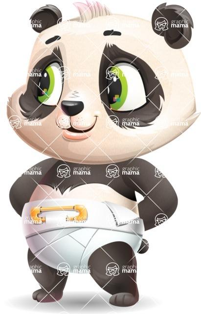 Baby Panda Vector Cartoon Character - Waiting with hands behind back