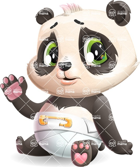 Baby Panda Vector Cartoon Character - Waving for Goodbye with a hand