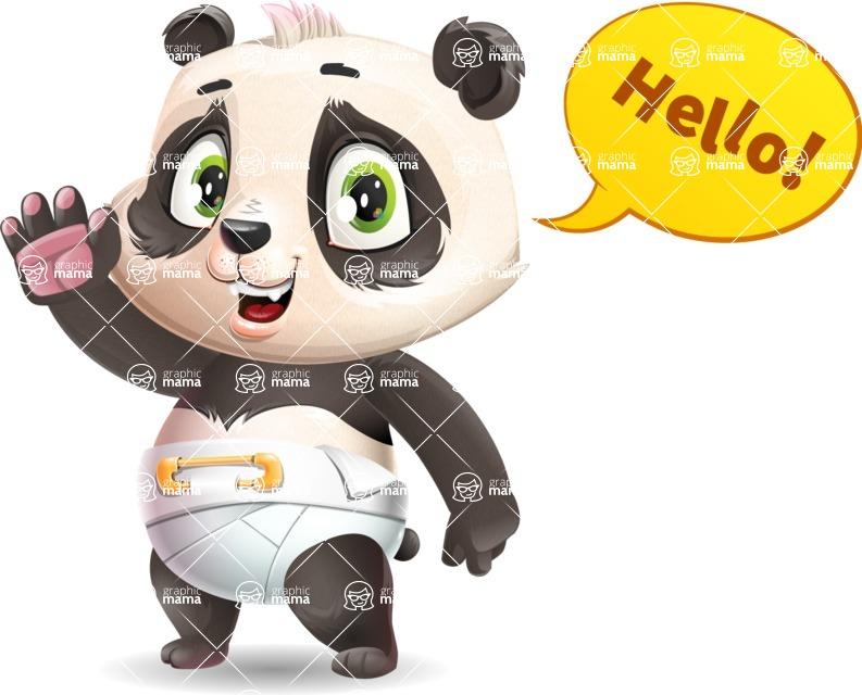 Baby Panda Vector Cartoon Character - Waving for Hello with a hand