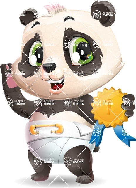 Baby Panda Vector Cartoon Character - Winning prize