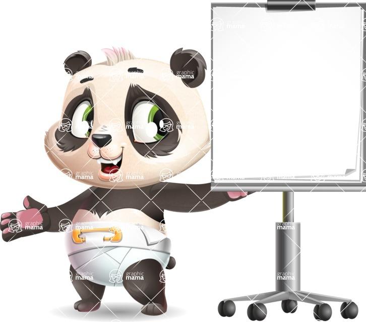 Baby Panda Vector Cartoon Character - with a Blank Presentation board