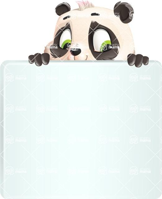 Baby Panda Vector Cartoon Character - with a Blank Presentation sign