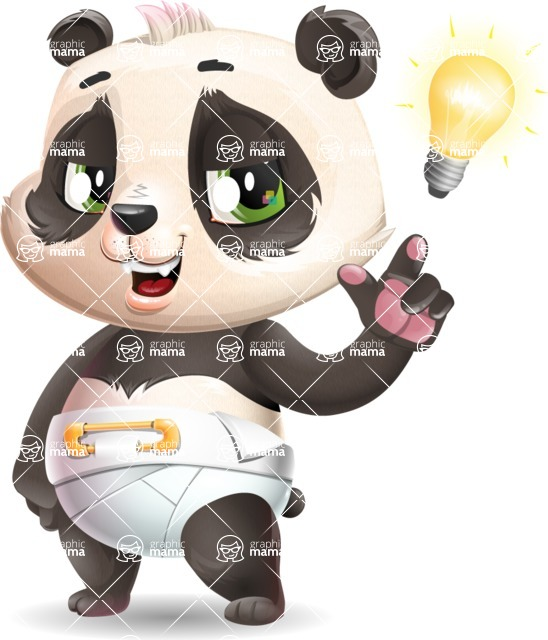 Baby Panda Vector Cartoon Character - with a Light bulb