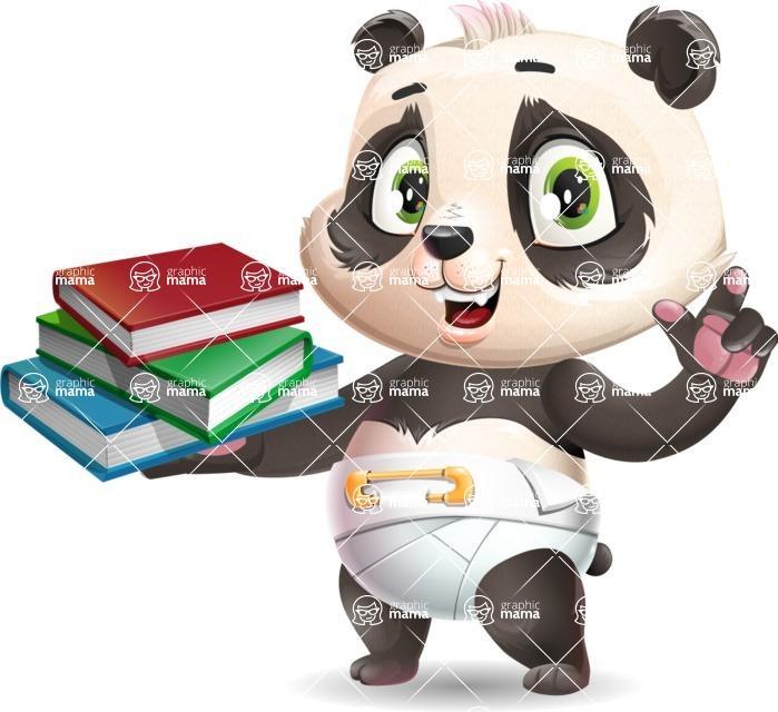 Baby Panda Vector Cartoon Character - with Books