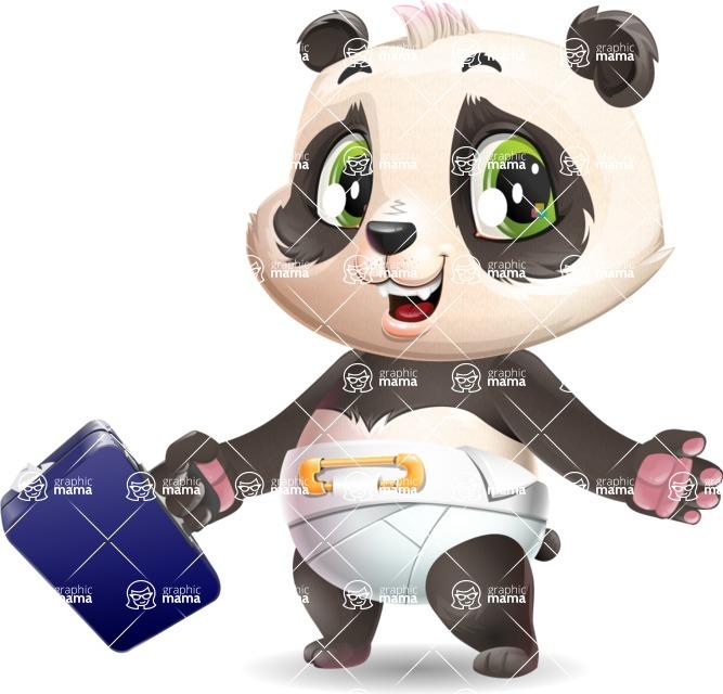 Baby Panda Vector Cartoon Character - with Briefcase
