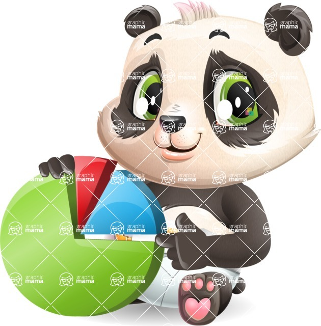 Baby Panda Vector Cartoon Character - with Business graph