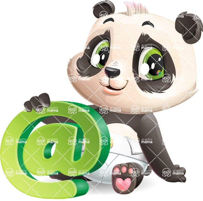 Baby Panda Vector Cartoon Character - with Email sign