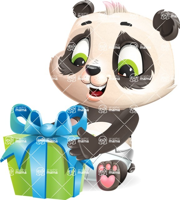 Baby Panda Vector Cartoon Character - with Gift box