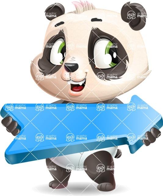 Baby Panda Vector Cartoon Character - with Positive arrow