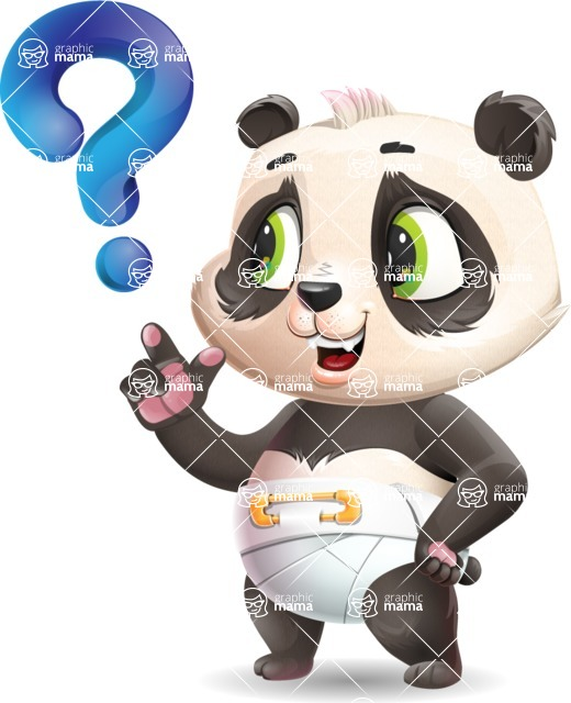 Baby Panda Vector Cartoon Character - with Question mark