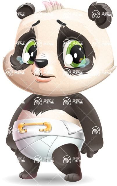 Baby Panda Vector Cartoon Character - with Sad face