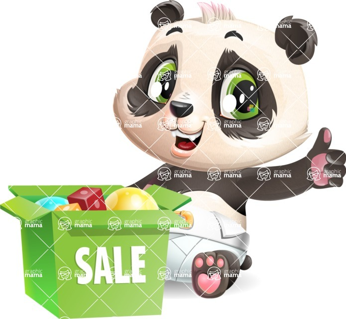Baby Panda Vector Cartoon Character - with Sale boxes