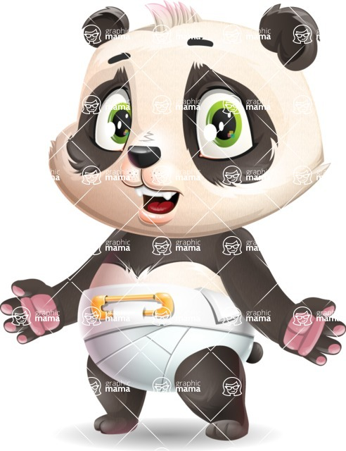 Baby Panda Vector Cartoon Character - with Stunned face