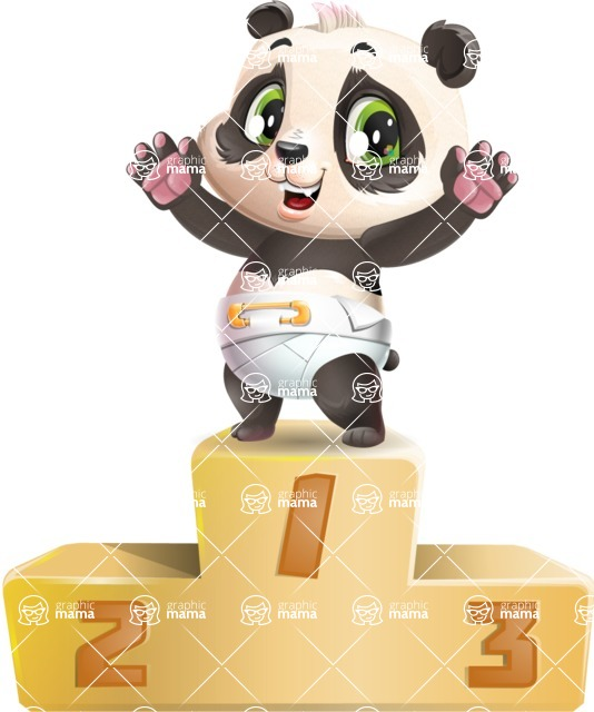 Baby Panda Vector Cartoon Character - with Success on Top