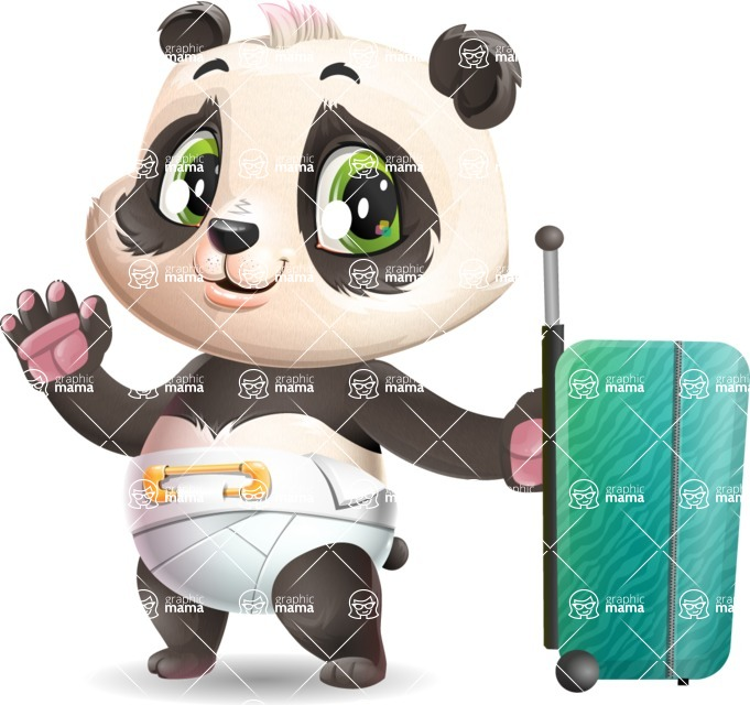 Baby Panda Vector Cartoon Character - with Suitcase