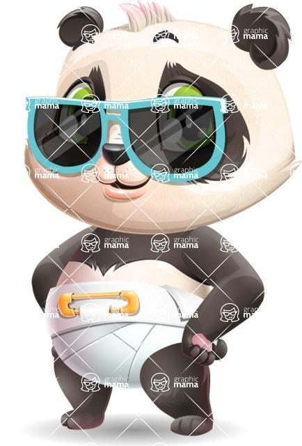 Baby Panda Vector Cartoon Character - with Sunglasses