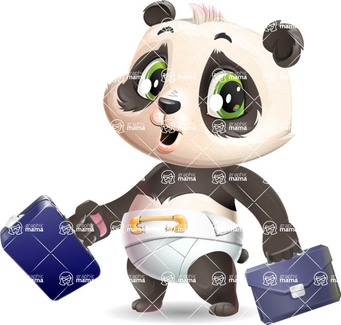 Baby Panda Vector Cartoon Character - with Two briefcases