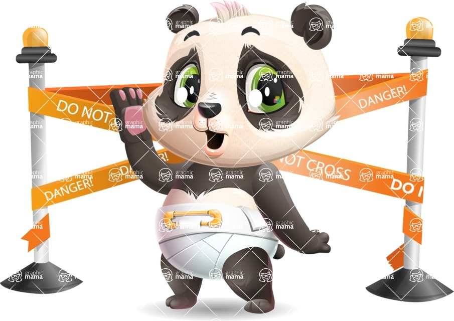 Baby Panda Vector Cartoon Character - with Under Construction sign