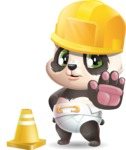 Baby Panda Vector Cartoon Character - as a Construction worker