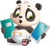 Baby Panda Vector Cartoon Character - Choosing between Book and Tablet