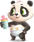 Baby Panda Vector Cartoon Character - Drinking milk
