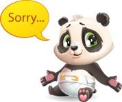 Baby Panda Vector Cartoon Character - Feeling sorry