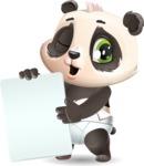 Baby Panda Vector Cartoon Character - Holding a Blank banner