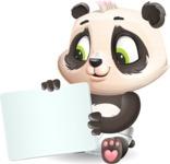 Baby Panda Vector Cartoon Character - Holding a Blank sign