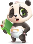 Baby Panda Vector Cartoon Character - Holding a book