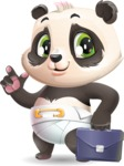 Baby Panda Vector Cartoon Character - Holding a briefcase