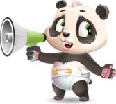 Baby Panda Vector Cartoon Character - Holding a Loudspeaker
