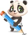 Baby Panda Vector Cartoon Character - Holding Pencil