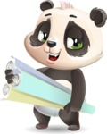 Baby Panda Vector Cartoon Character - Holding Plans