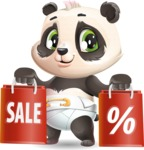 Baby Panda Vector Cartoon Character - Holding shopping bags